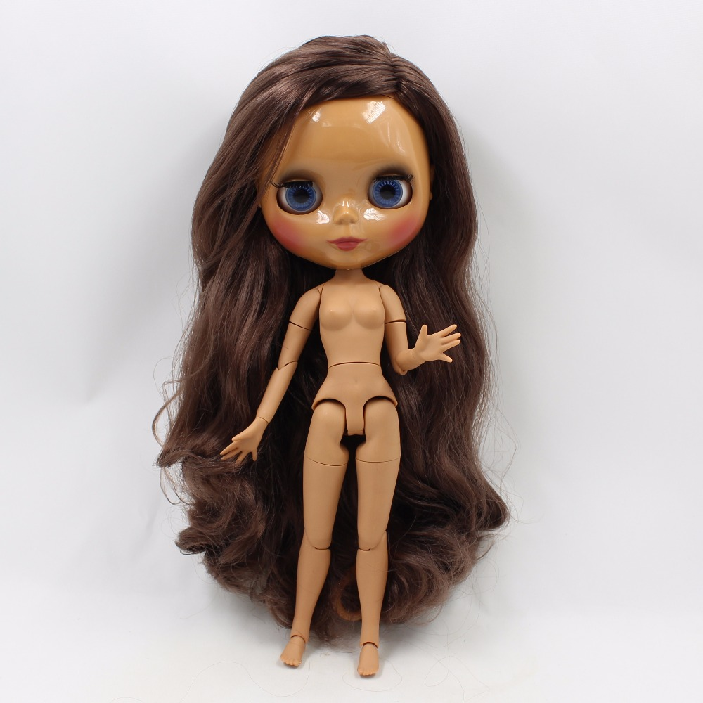 Neo Blythe Doll with Brown Hair, Dark Skin, Shiny Face & Jointed Body 4