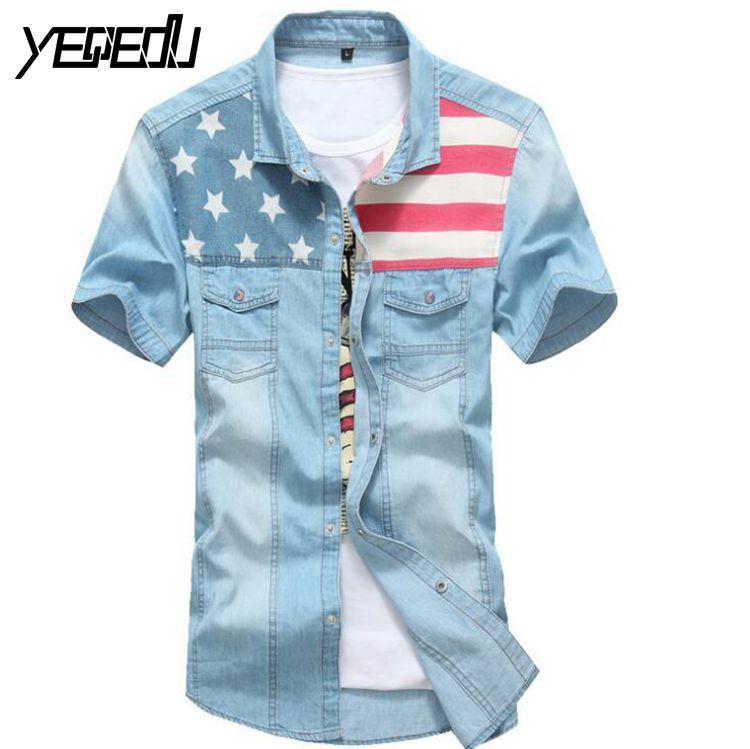 2303 2017 Mens shirts Camisa denim hombre Short sleeve Casual Slim fit Flag Camisas masculina