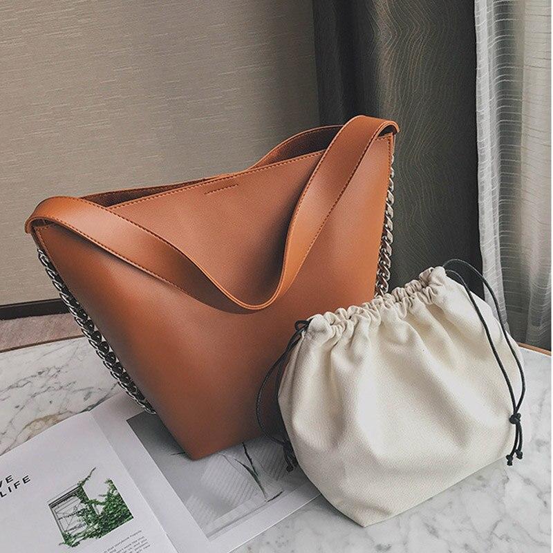 2 Pcs Woman Composite Bucket Bag PU Leather Metal Chain Handbag Lady Girl Travel Shoulder Bags BS88