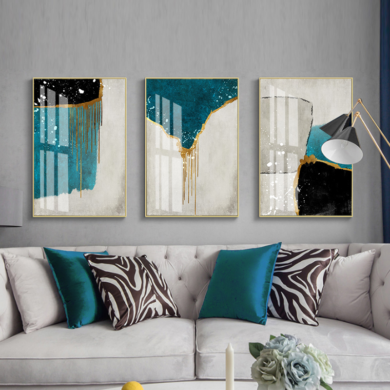 Nordic Abstract Color Spalsh Blue And Golden Canvas Painting Poster And Print Unique Landscape Print Poster Living Room Decor