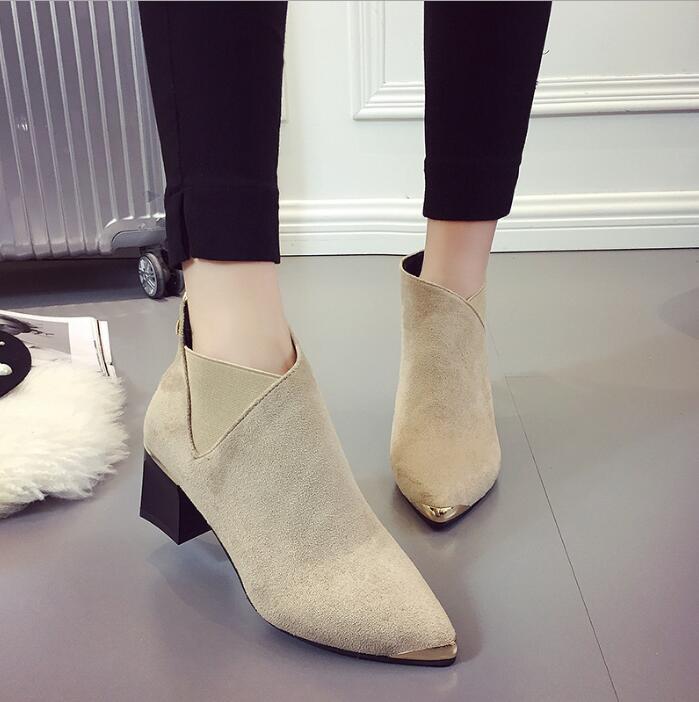 Botas Martin B739 Invierno Zapatos Metal Estrecha Mujeres Botines Altos De Cuero Effgt Mujer Beige negro Tacones Punta Moda Nueva BZq1qFWaX