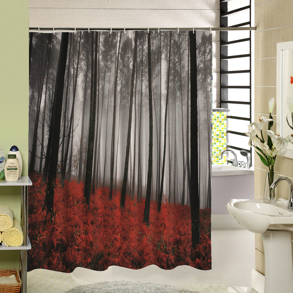 Birch Tree Shower Curtain Forest Trees For Bathroom Decor Private Protective Unique Curtians Fabric Liner