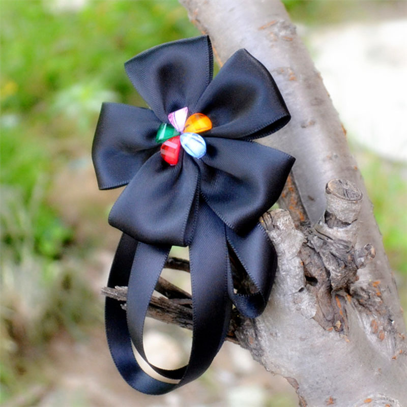 SUPIN Fashion Black Ribbon Flower Pins And Brooches For Women Romantic Korean Safety Big Pin Brooch Jewelry Scarf Accessories