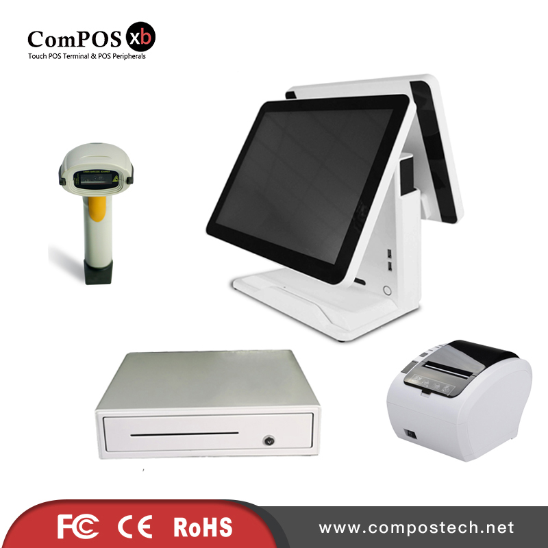A completely set of 15 inch dual pure screen system POS cash register with cash drawer barcode scanner printer for retail shop pure screen 15 inch cash register with printer cash drawer customer display and scanner all in one pc pos system for restaurant