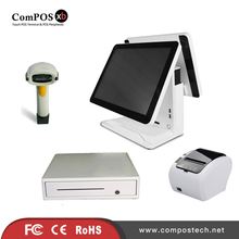 A completely set of 15 inch dual pure screen system POS cash register with drawer barcode scanner printer for retail shop