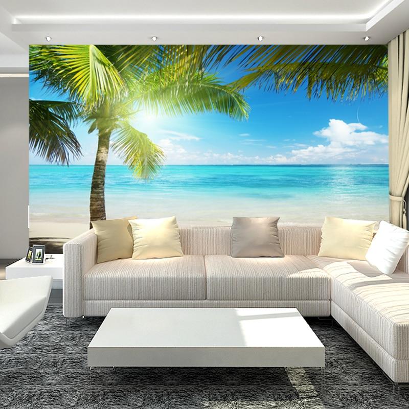 living tv seamless background wall sofa sea landscape