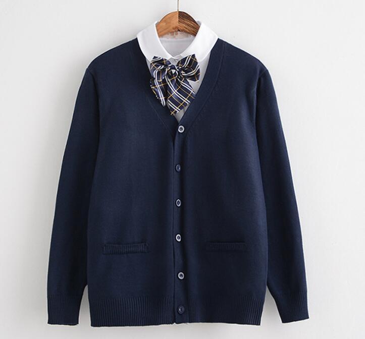 2019 Spring Cosplay School Uniform Sweater For Girls Women Long Sleeve Knitted Japanese Sailor Uniform Cardigans