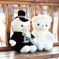 40cm lover teddy bear wedding dress bears a pair plush toy doll wedding gift w1797