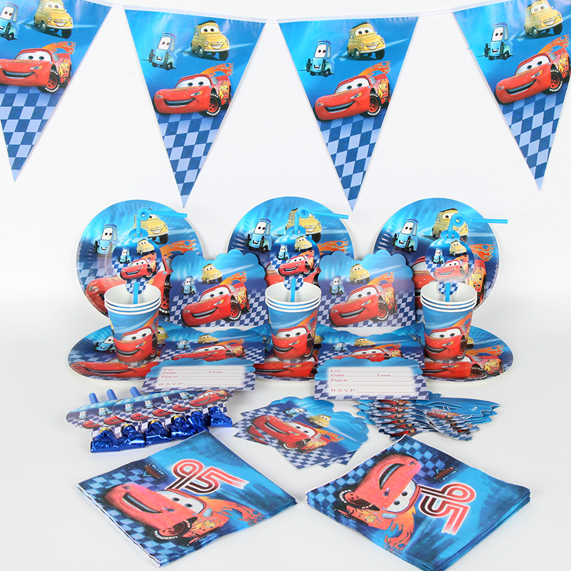 86pcs Disney car Happy Birthday Kids Baby Show Party Decoration Disposable Paper Cup Banner Plate Tableware Party Supplies image