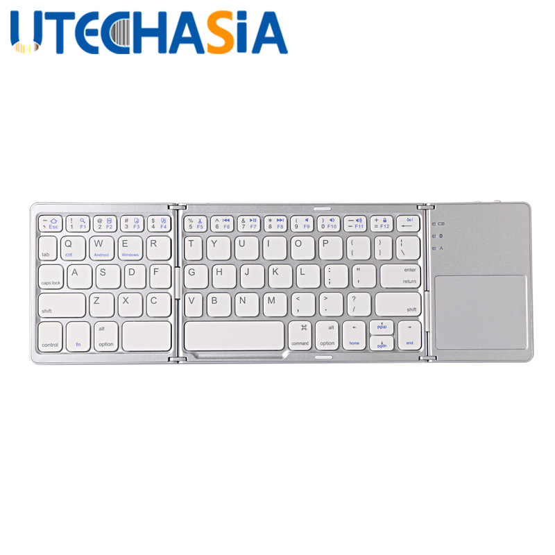 Trois Mini clavier sans fil pliable Bluetooth Portable Ultra mince Touchpad adapté aux ordinateurs portables tablette PC téléphones mobiles