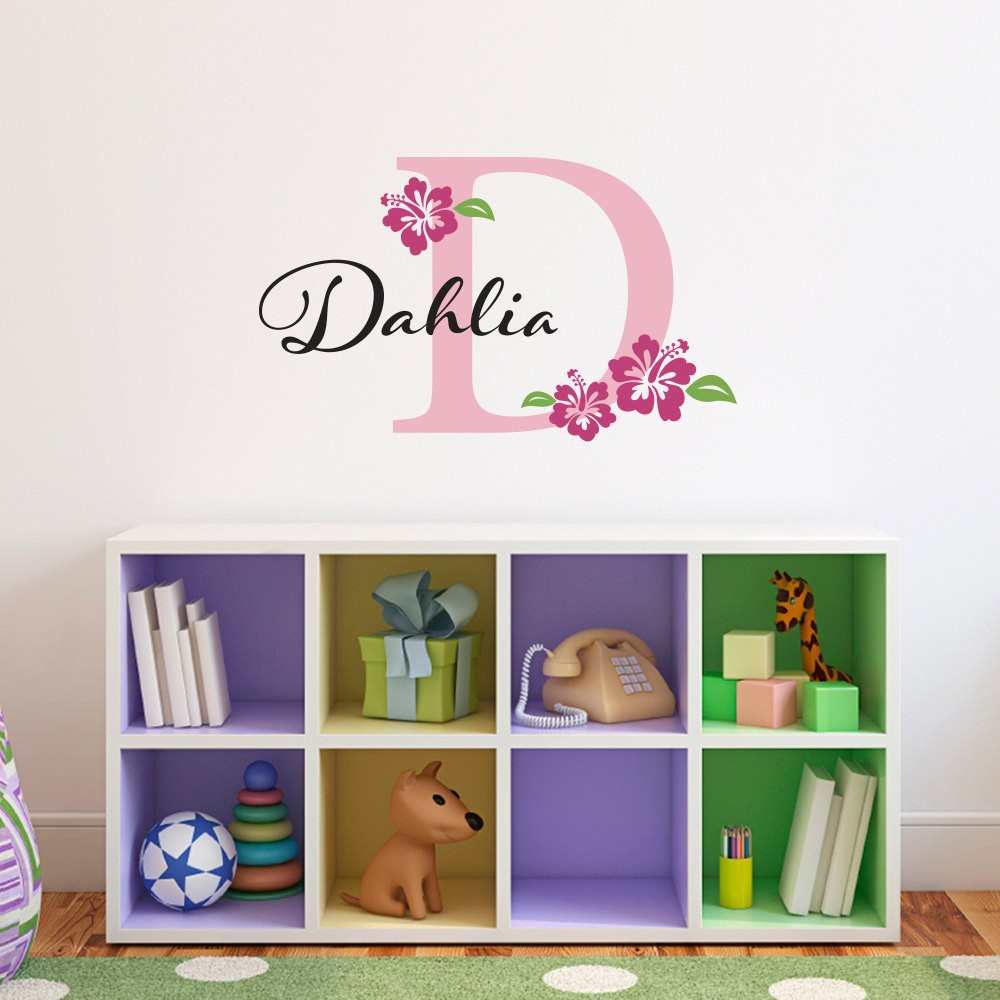 Bedroom furniture names - Personalized Name Initial Flower Vinyl Wall Sticker Wall Art Decals Girls Wall Stickers Self Adhesive Film Kids Bedroom Decor