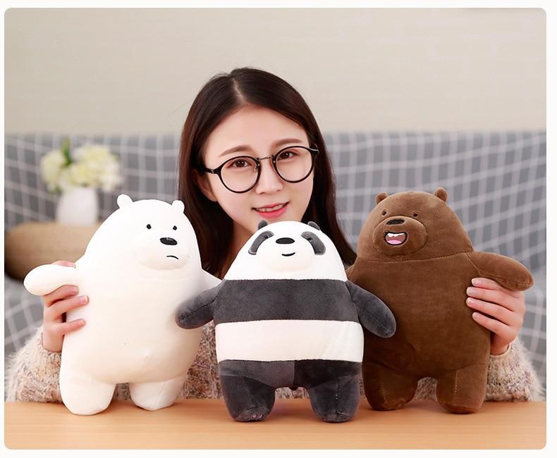 1pc 30cm We Bare Bears Cartoon Bear Stuffed Animals Grizzly Gray White Bear Panda Plush Dolls Toys Kawaii Birthday Gift For Kids