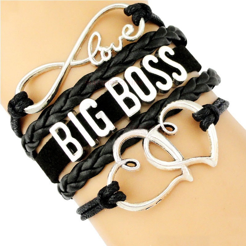 Big Boss Mama Mom Girl Babe Infinity Heart Love Prosperity Thrive Charm Bracelets Women Men Black Jewelry Gift Many Styles