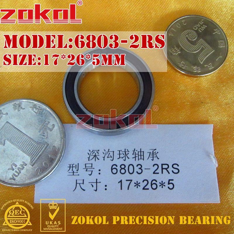ZOKOL 6803RS bearing 6803 2RS 1000803 6803-2RS Deep Groove ball bearing 17*26*5mm zokol 6314 2rs bearing 6314 2rs 180314 deep groove ball bearing 70 150 35mm