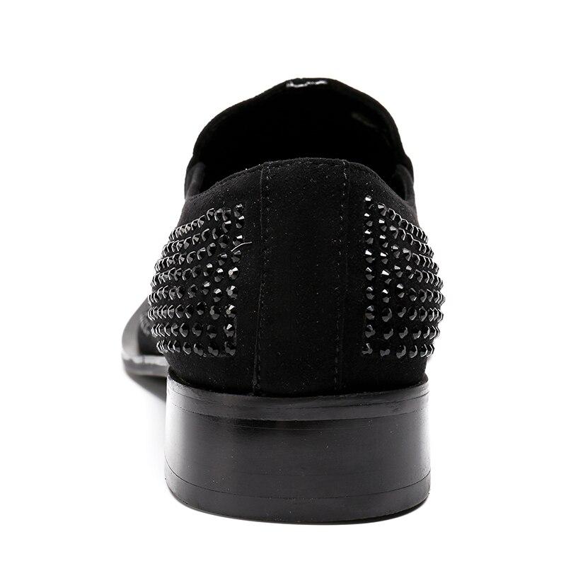 Punta De Cristal A Zapatos Pie Cuero Los Del Peluquería 12 Genuino Nueva Dedo Vestir Puntiagudo 2018 Sz Metal Llegada Hecho Hombres Mano Moda OqPzwf8AAx