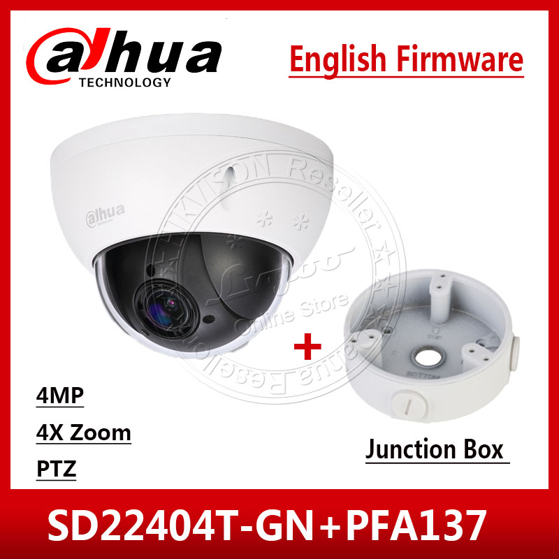 Dahua SD22404T GN 4MP 4x PTZ Network Camera IVS WDR POE IP66 IK10 Upgrade from SD22204T GN With Dahua LOGO& Junction Box PFA137-in Surveillance Cameras from Security & Protection    1