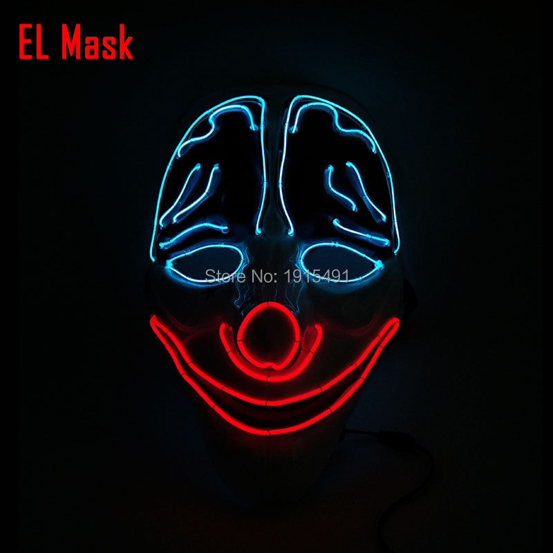 Cheap!Easter Day Novelty Lighting Energy Saving LED cold light Mask Halloween full face Fashionable Cosplay decor EL wire Mask