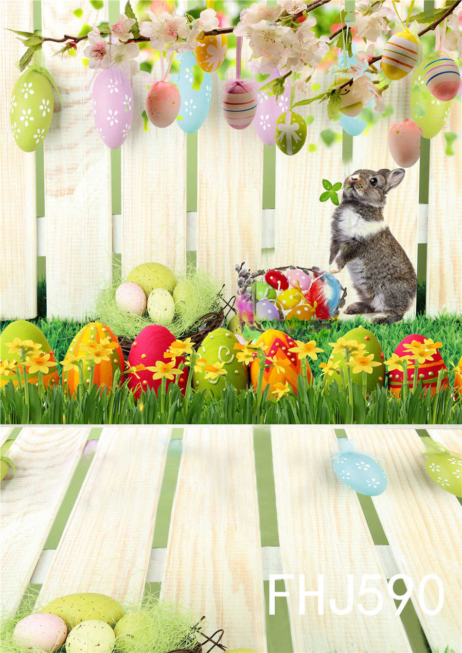 Happy Easter Day Children Colorful Eggs Photography Backdrops Cute Rabbit Wood Floor Decoration Photo Studio Background easter day eggs in straw photography backdrops dry branches fotografia photo background for photo studio photography background