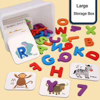 English Matching 3D Alphanumeric Card Set Double sided Stereoscopic Cognitive Educational Jigsaw Puzzle kid Baby learningToys