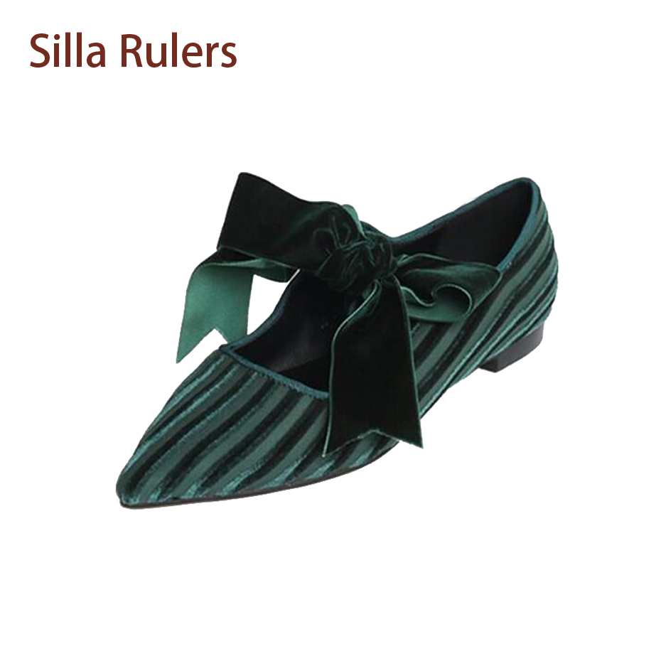 Silla Rulers Pointed Toe Shallow Mouth Single Shoes Women Flock Stripe Patchwork Big Bowtie Low Heel Casual Shoes Women Flats lin king fashion pearl pointed toe women flats shoes new arrive flock casual ladies shoes comfortable shallow mouth single shoes