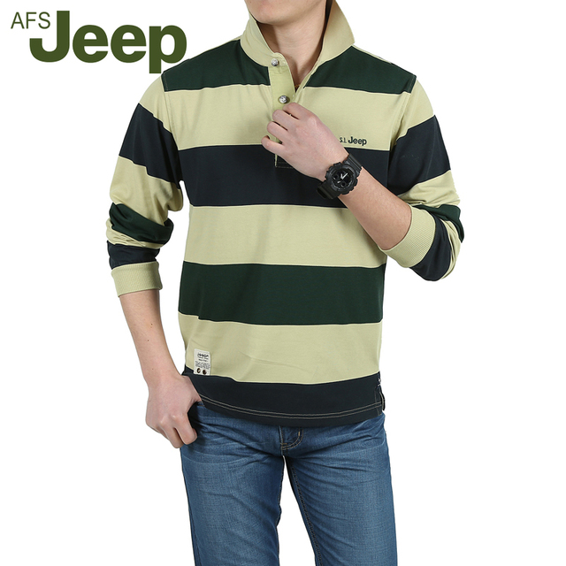 AFS JEEP New arrival 2016 Autumn men polo shirt new casual striped men's polo Fashion striped long sleeve polo shirt Men 55