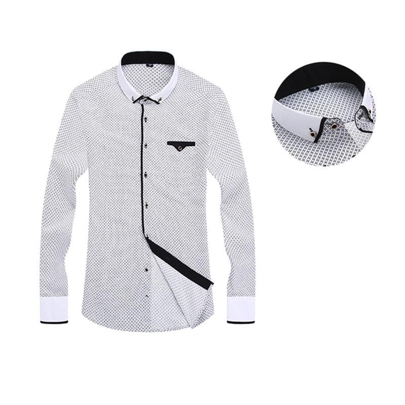 2019 Men Fashion Casual Long Sleeved Printed Shirt Business Dress Shirt Slim Fit Male Social Brand Men Clothing Soft Top Yn10369