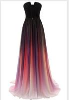 Bridalaffair Real Photo Real Photo Gradient Color Chiffon 2017 Evening Dress New Rainbow Vest Ball Dress Customized party dress