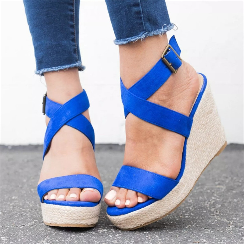 PUIMENTIUA Sandals Pumps Platform Shoes Woman High-Heels Summer Women Cross-Tied New