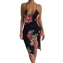 Women's Summer Style Dresses Printed Sexy& Club V-neck Spaghetti Strap Evening Party Mini Dress NEW