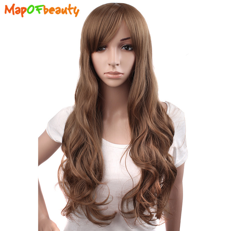 Synthetic None-lacewigs Synthetic Wigs Mapofbeauty Long Loose Wave Light Dark Brown Black 75cm Women Wigs Cosplay Ladys Heat Resistant Synthetic Full Hair Always Buy Good