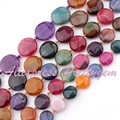 """Free Shipping 12,14,16,18mm Coin Faceted Cracked Multicolor Agate Gem Stone For DIY Necklace Bracelet Jewelry Making Beads 15"""""""