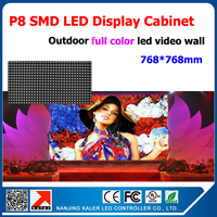 TEEHO Advertising Outdoor Full Color P8 LED Display Cabinet 768*768mm Video LED Screen Outdoor with Power LED Control Card