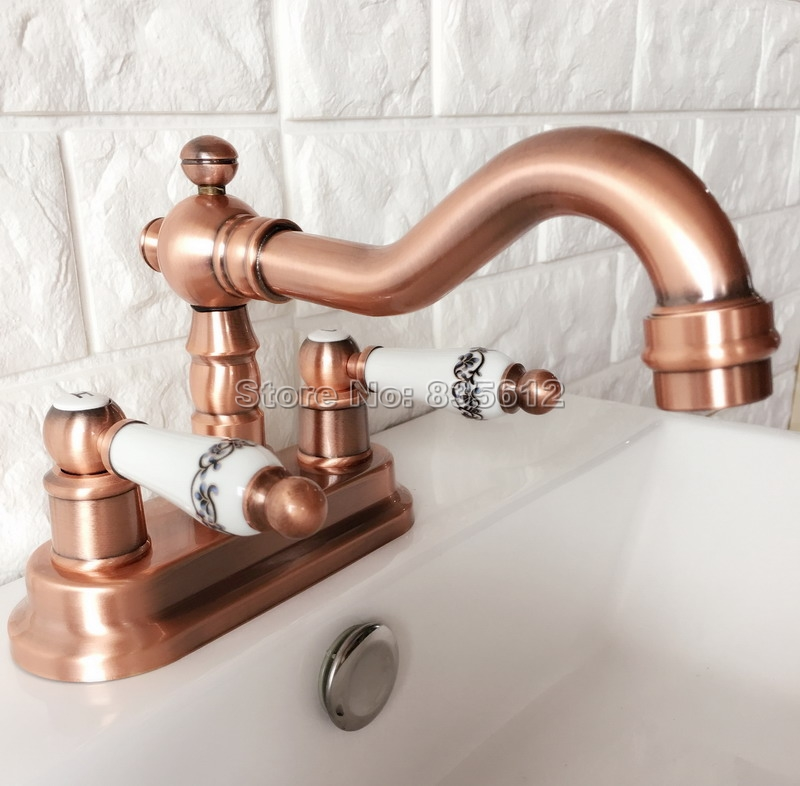 Red Copper 360 Swivel Spout Kitchen & Bathroom Faucet Dual Ceramic Handle Cold and Hot Water Mixer Tap Wash Basin Faucets Wrg046 antique red copper swivel spout kitchen faucet single handle cold and hot water mixer tap wash basin mixer sink faucets wnf388