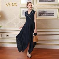 VOA шелк Темно синие Для женщин Винтажные наряды Асимметричный v образным вырезом без рукавов Вышивка халат Longue одноцветное роковой ете 2017