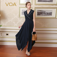 VOA Silk Navy Blue Women Vintage Dresses Asymmetrical V-Neck Sleeveless Embroidery Robe Longue Solid Robe Femme Ete 2017 A7577