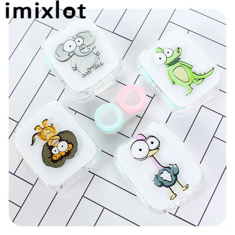 IMIXLOT Hot Sale Cartoon Cute Animal Portable With Mirror Contact Lens Case for Lovers G ...