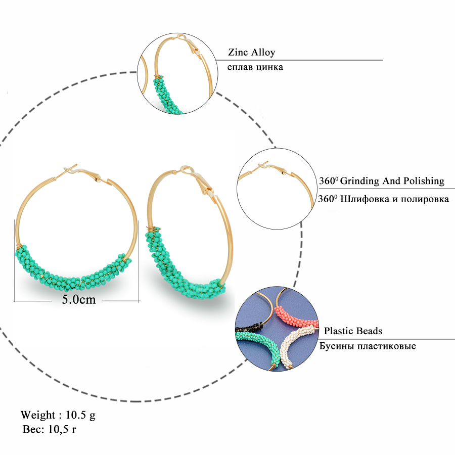 bohemian beads hoop earrings for women jewelry fashion gold color round brincos boucle d 39 oreille. Black Bedroom Furniture Sets. Home Design Ideas