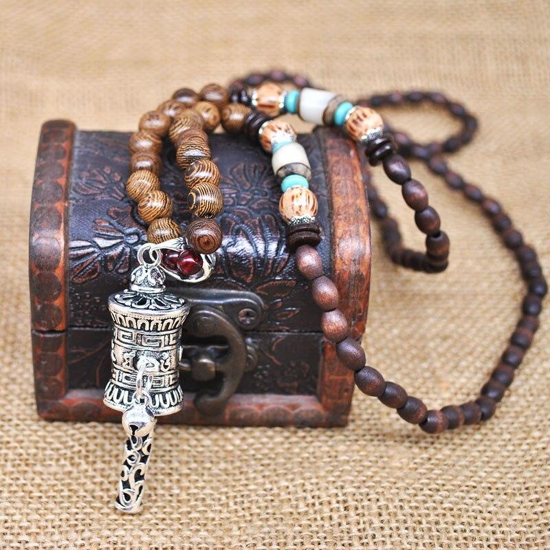Handmade Nepal Buddhist Mala Wood Beaded Necklace Fish Pendant Long Statement Ne