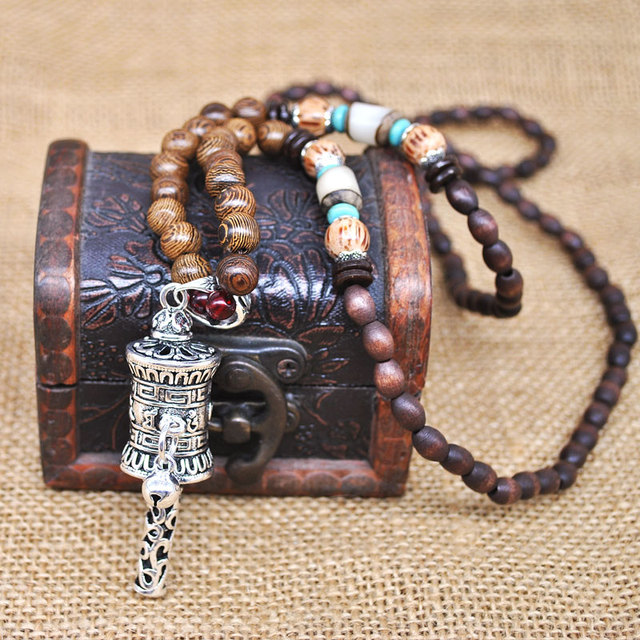 Yumfeel Handmade Nepal Jewelry Buddhist Mala Wood Beads Pendant Necklace Ethnic Horn Fish Long Statement Necklace For Women Men 2