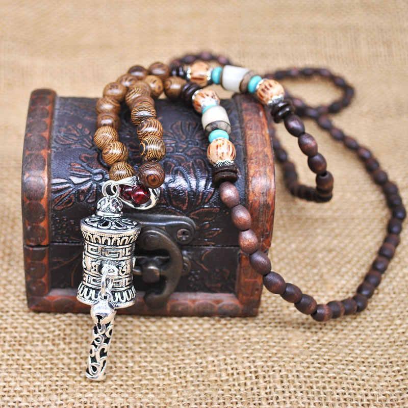 Yumfeel Handmade Nepal Necklace Buddhist Mala Wood Beads Pendant & Necklace Ethnic Horn Fish Long Statement Jewelry Women Men