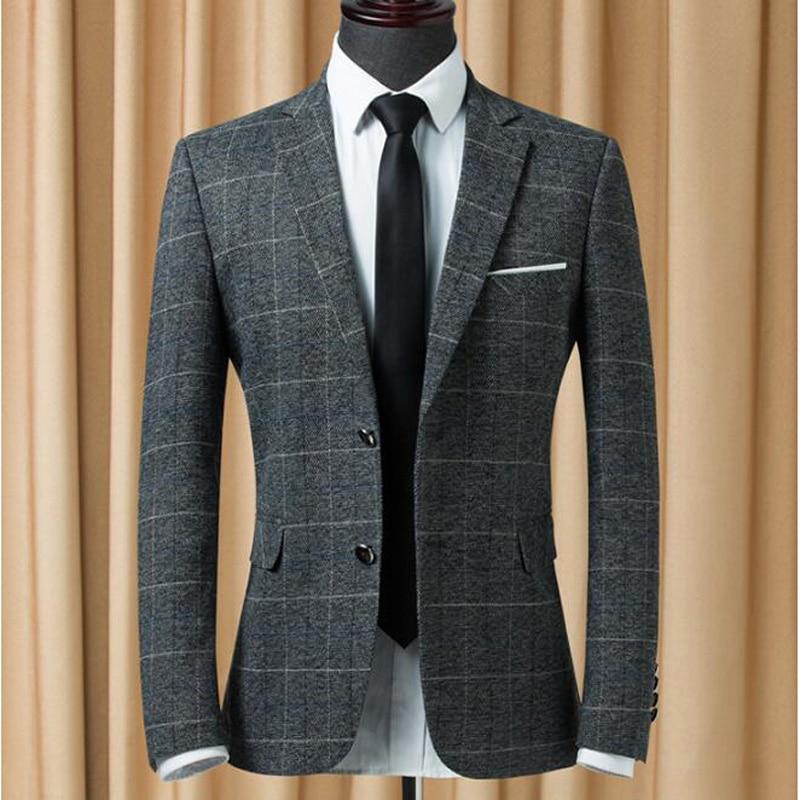 New Luxury Men Suit Jacket Fashion Casual Grid Suit Men Slim Fit Costume Homme Wedding Dress Suit Blazer