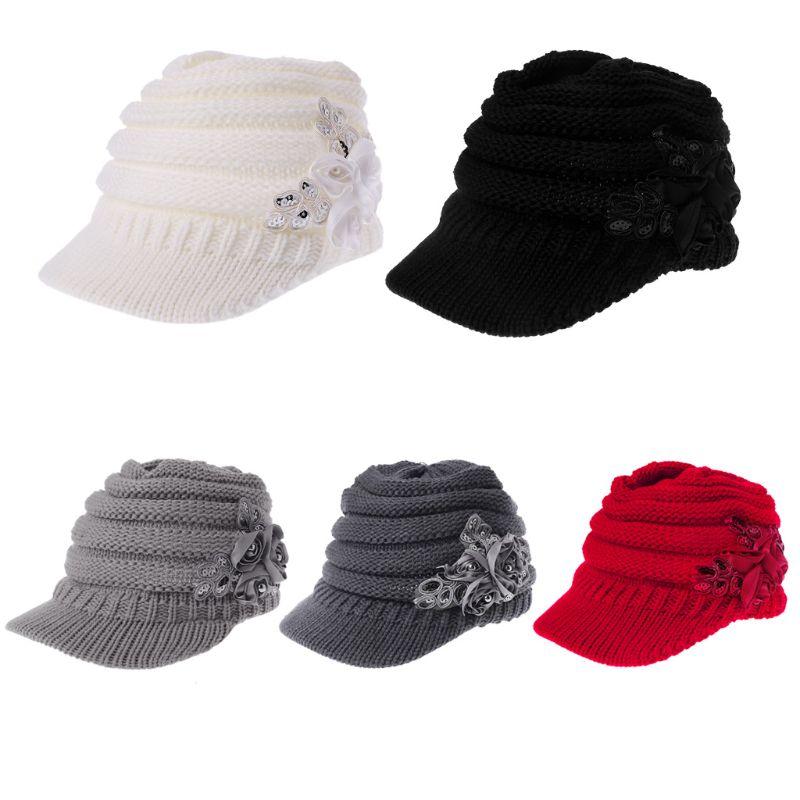 Women Ladies Knitted Hat Winter Crochet Peaked Beanie Cap Hat Knitted Skull  Cap Grey Girls Skullies CAPS Bonnet Femme SnapBack ad0fe08a8fb