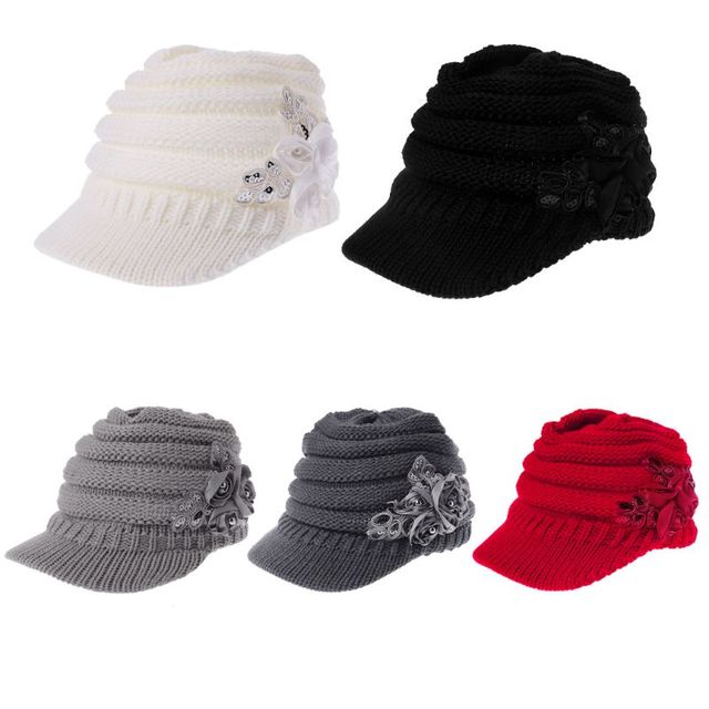 cc887b6b Women Ladies Knitted Hat Winter Crochet Peaked Beanie Cap Hat Knitted Skull  Cap Grey Girls Skullies CAPS Bonnet Femme SnapBack