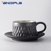 60cc Vintage Coarse Pottery Espresso Coffee Set Mug Bar Cappuccino Zakka Tazas Cafe Cup and Saucer Kit Drinkware Handgrip Mug