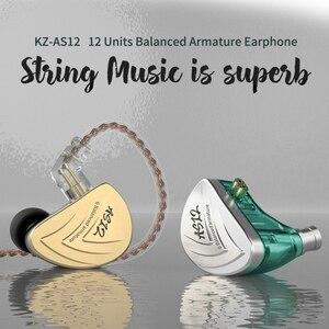 Image 5 - Внутриканальные наушники KZ AS12, Hi Fi, 12ba, сбалансированные арматурные наушники вкладыши, IEM с 2 контактным разъемом 0,75 мм, съемный кабель, наушники вкладыши с шумоподавлением