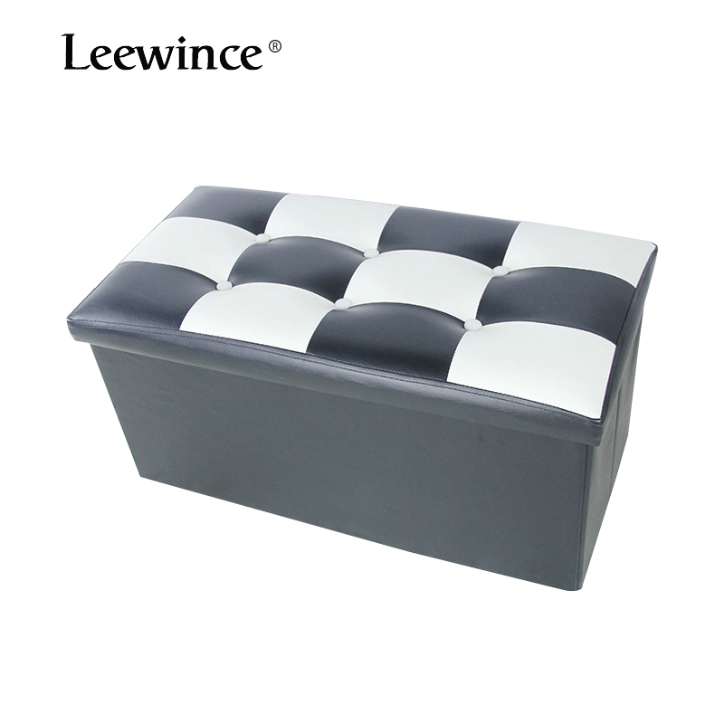 Leewince Storage Folding Stool,Animation leather Coffee Table printed box Foot Rest Seat,Clutter Toys Collection A