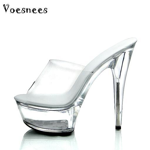 95d5dd3d5 2017 Novos Slides Modelo Feminino T Palco Passarela Sexy Sapatos de Cristal  15 cm Alto com Solas Grossas Chinelos Plataformas Transparentes