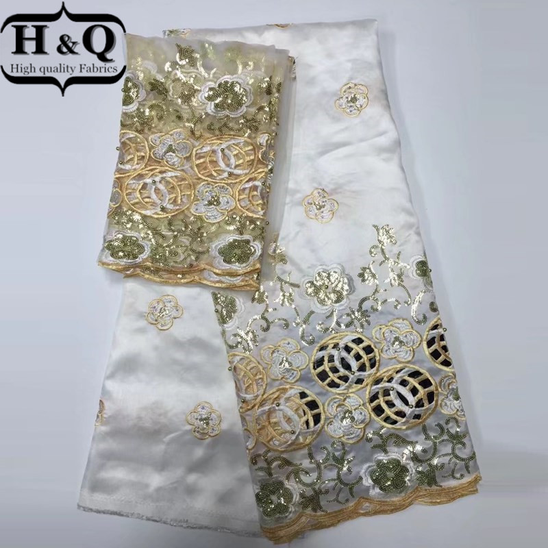 2017 New design african george lace fabric High quality Nigerian white satin george lace fabrics for wedding dress Indian laces
