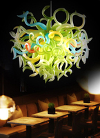 100% Mouth Blown Glass Crystal Chandelier with LED lights Hanging Chain Chandelier LED Light Fixtures Living Room Bar Lights
