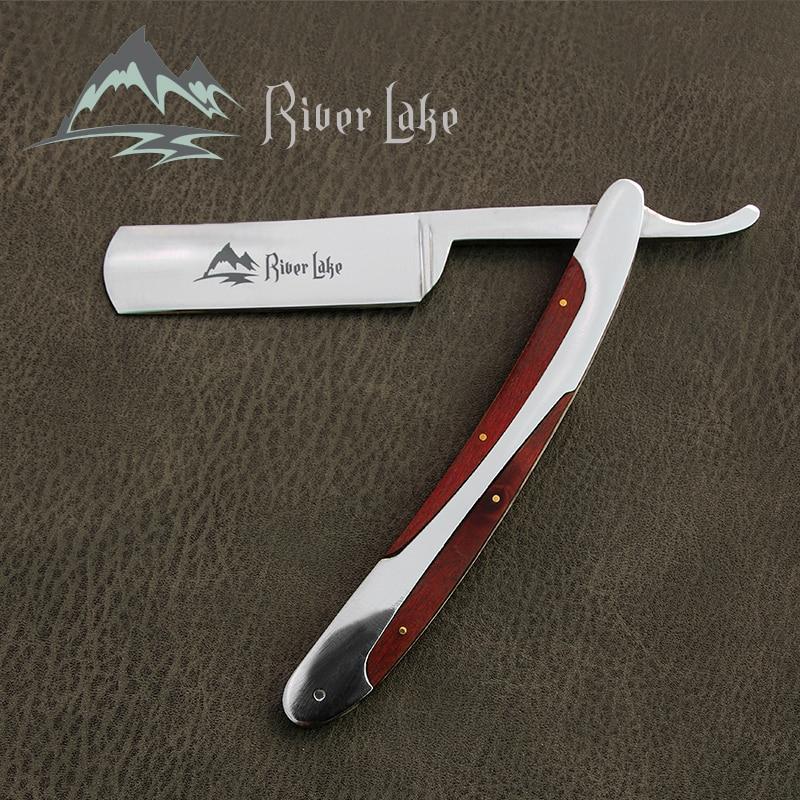 River Lake Arrival Men Vintage Straight Edge Stainless Steel Hair Shaper Barber Razor Folding Manual Shaving Knife